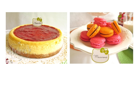 cheesecake y macarons