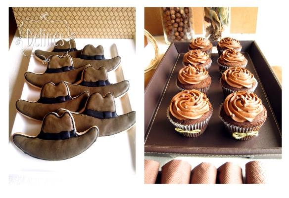 cookies somrero y cupcake choco