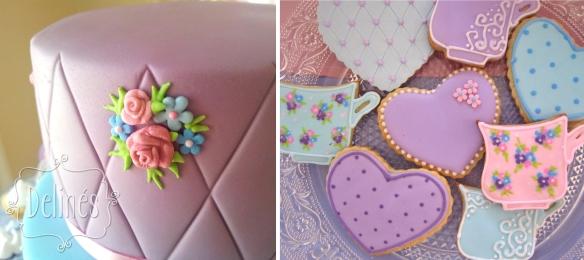 flores en torta y cookies