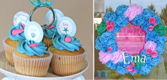 en el mar cupcakes y corona