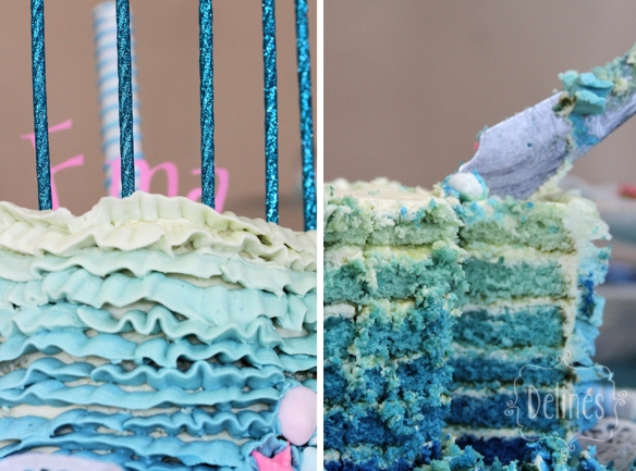en el mar detalles de torta