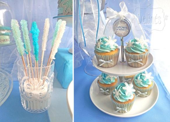 Frozen torre de cupcakes y palitos de azucar