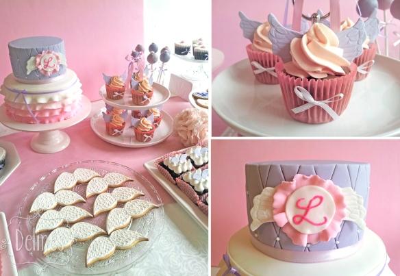 Angeles mesa y detalles de cupcake y torta