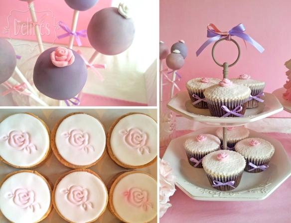 Angeles torre de cupcakes choco, detalle en pop y milhojas