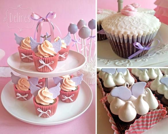 Angeles torre de cupcakes, cupcakes choco y brownie