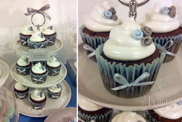 cupcakes de chocolate torre y detalle