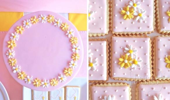 Comunion con margaritas cookies margaritas y torta arriba