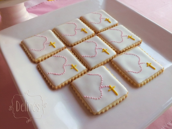Comunion con margaritas cookies rosario
