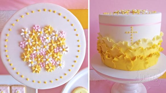 Comunion con margaritas torta petalos detalle