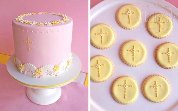 Comunion con margaritas torta y cookies cruz