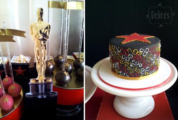 Hollywood torta negra y estatua