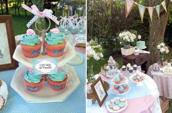 Sarah Kay Shabby chic cupcakes y mesa dulce