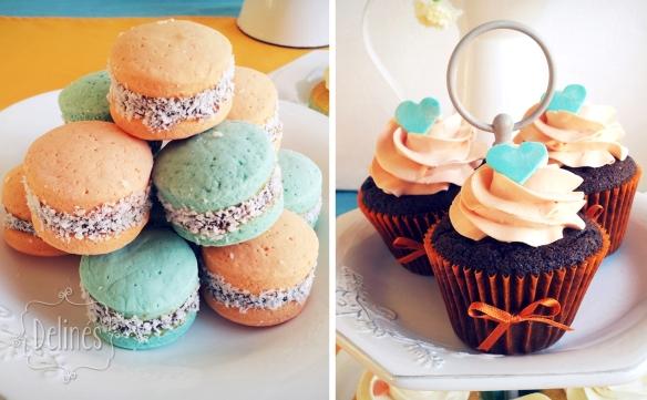 corazones aqua y naranja alfajorcitos de maicena y cupcakes choco