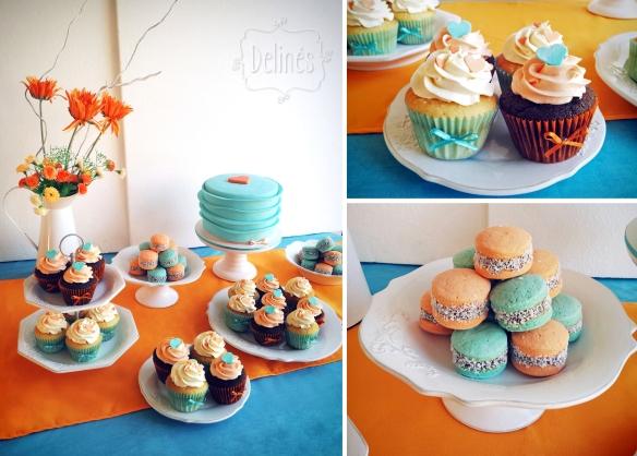 corazones aqua y naranja mesa dulce, alfajorcitos y cupakes