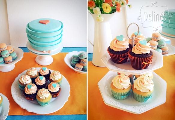 corazones aqua y naranja torta y cupcakes