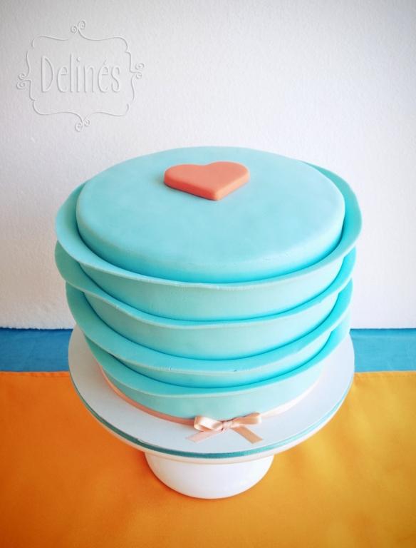 corazones aqua y naranja torta