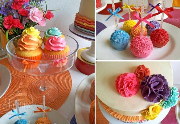 multicolor cupcakes popcakes y pompones