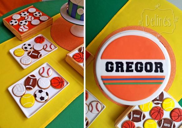 pelotas deportivas cookies y torta arriba