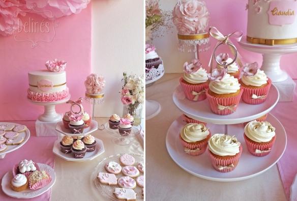 Romantico floral detalle de mesa y torre de cupcakes