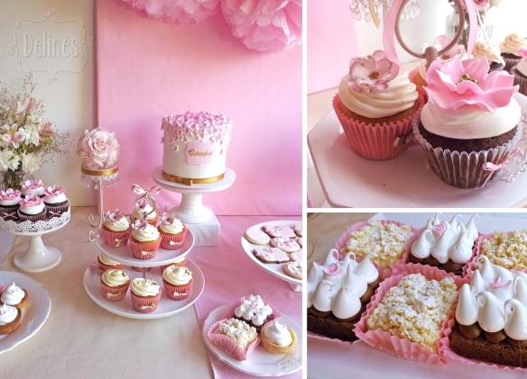 Romantico floral mesa cupcakes y minitortas
