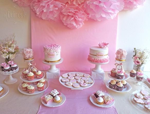 Romantico floral mesa dulce cerca