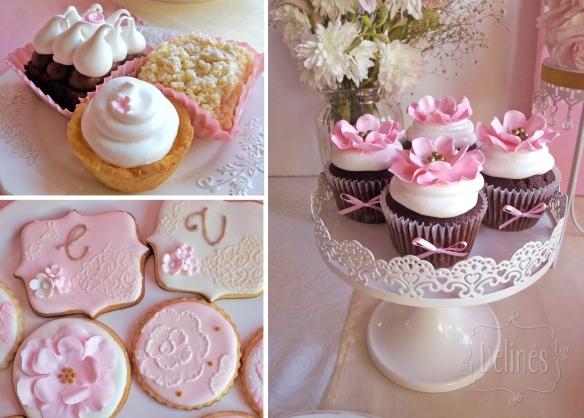 Romantico floral minitortas cookies y cupcakes choco