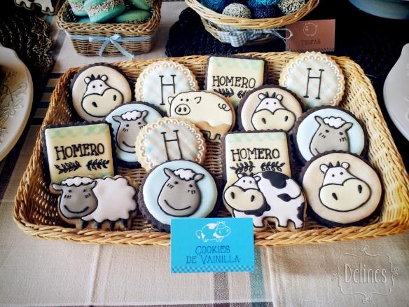 Animales de granja cookies en bandeja