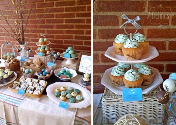 Animales de granja torre de cupcakes y mesa