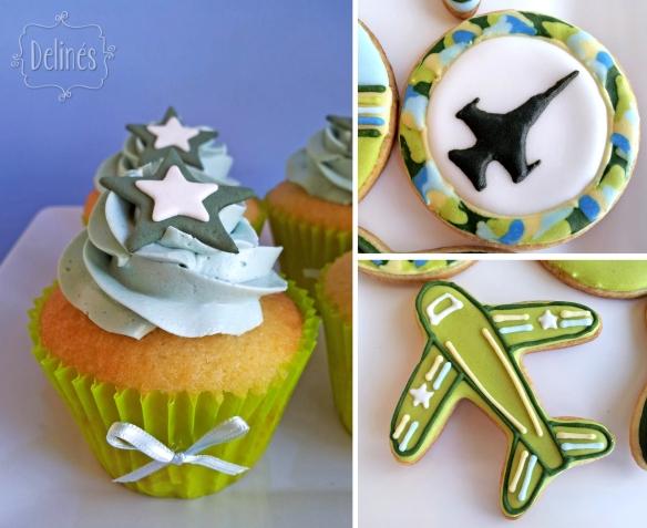 Aviones de Combate cookies y cupcake detalle