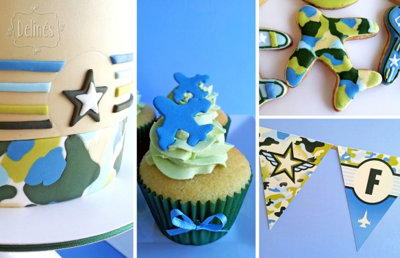 Aviones de Combate torta cupcake,cookie y banderin