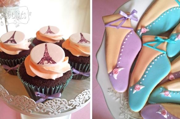 Bailarina en Paris cupcake y cookies zapatillitas
