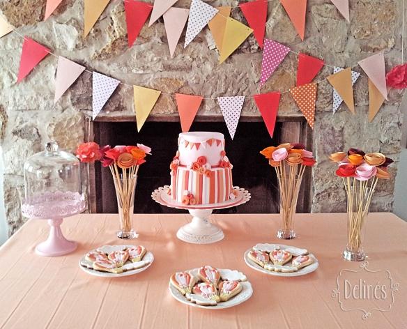 Banderines y flores mesa dulce