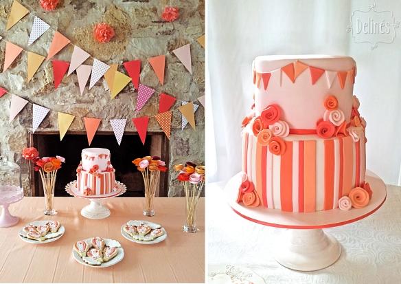 Banderines y flores mesa y torta