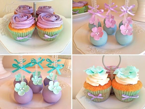 romantico en aqua y lila cupcakes y popcakes