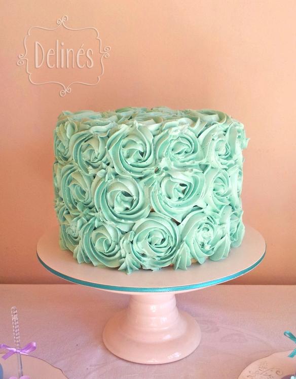 romantico en aqua y lila torta