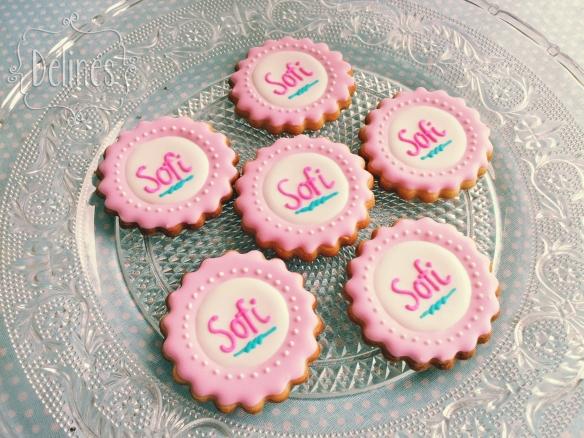 Bautismo shabby con florcitas cookies logo