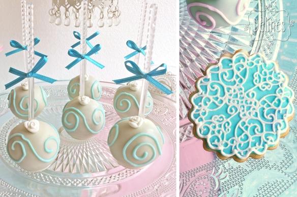 Bautismo shabby con florcitas detalle pop y cookies