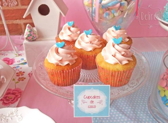 Pajaritos Shabby cupcakes de coco