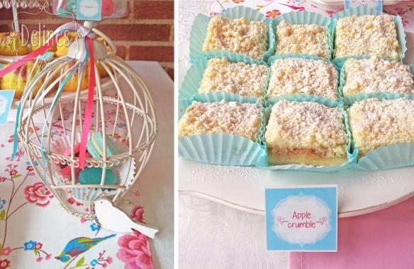 Pajaritos Shabby jaula de macarons y apple crumble