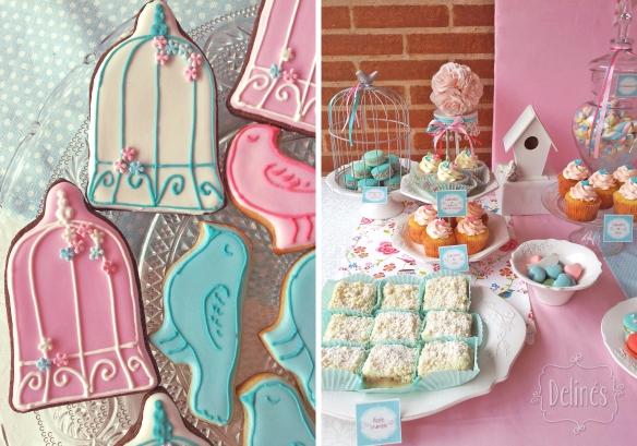 Pajaritos Shabby mesa y detalle cookies