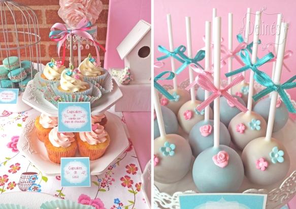 Pajaritos Shabby torre cupcakes y popcakes detalle