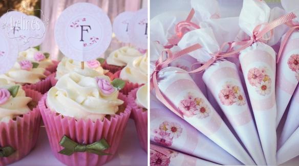 Bautismo delicado y con flores cupcakes y paraguitas