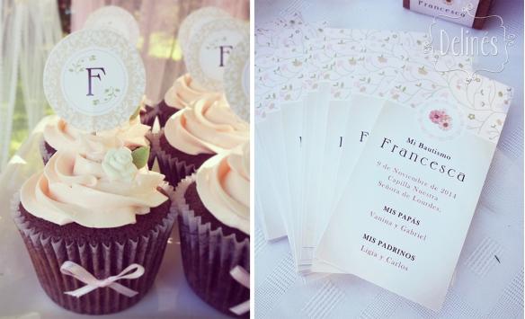 Bautismo delicado y con flores estampitas y cupcakes