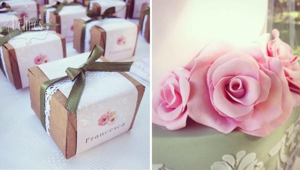 Bautismo delicado y con flores souvenir y flores
