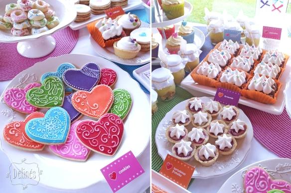 Corazones coloridos cookies y tarttaletas