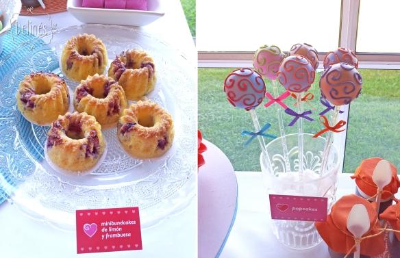 Corazones coloridos minibundcakes y popcakes
