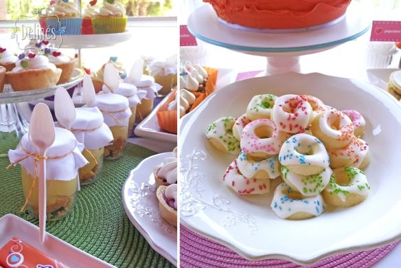 Corazones coloridos postres de limon y minidonuts
