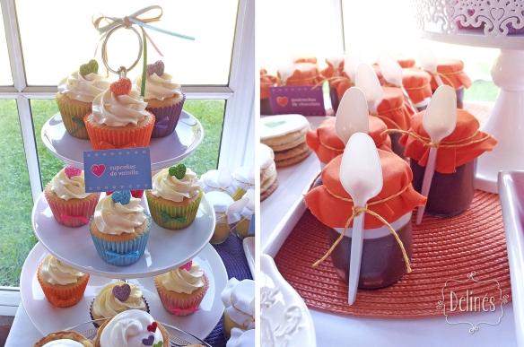 Corazones coloridos torre cupcakes y postres de chocolate