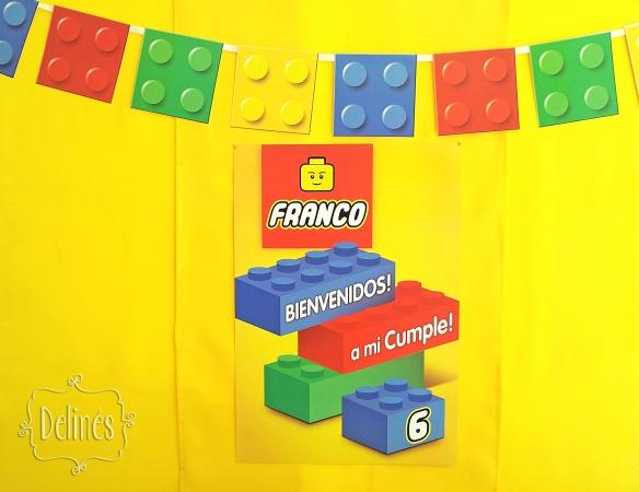 Lego cartel y guirnalda