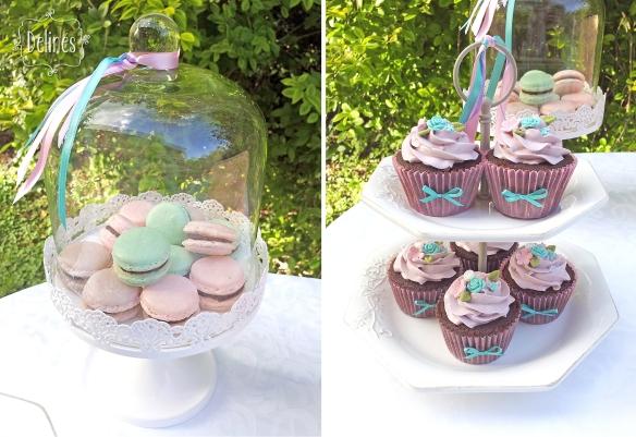 shabby-romantico-con-flores-campana-de-macarons-y-torre-cupcakes